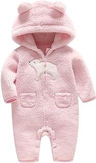 lengima Neugeborene Unisex Babys Lamm Kaschmir Strampler Volltonfarbe Baumwolle Eisbär Muster Overall