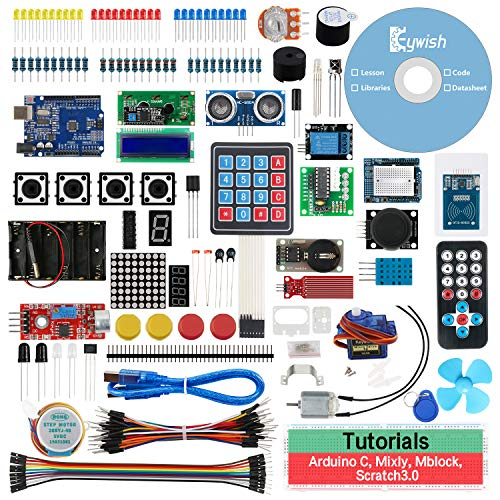 Keywish Project AE-01 Scratch Starter Kit for Arduino R3 Mega328 with 30 Lessons Tutorial Compatible with Arduino IDE Mixly Sctratch Mblock Graphical Programming