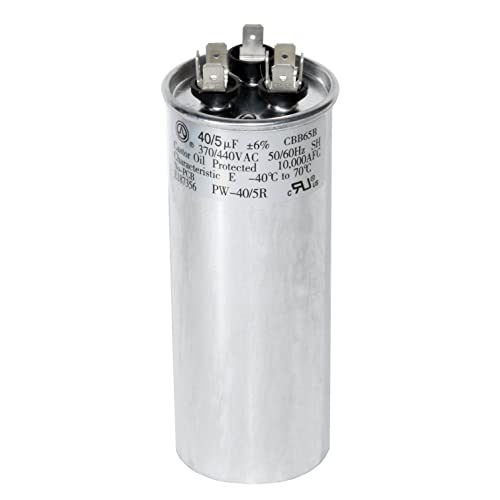 60+5 MFD uf Micro Farad 370 or 440 Volt Dual Run Round Capacitor PW-60//5//370-440R for Condenser Straight Cool or Heat Pump Air Conditioner Guaranteed to Last 5 Years PowerWell