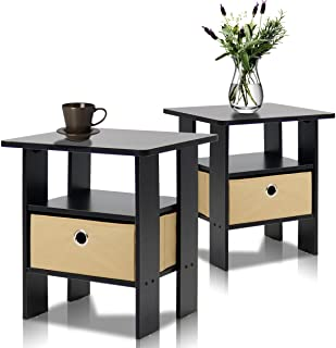 Furinno End Table Bedroom Night Stand, Petite, Espresso,...