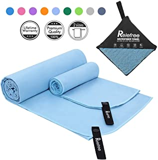 Relefree Microfiber Towel, 2 Pack Sports, Beach, Travel Towel- Fast Drying, Ultra Absorbent and Compact. Suitable for Camping, Beach, Gym, Swimming, Backpacking