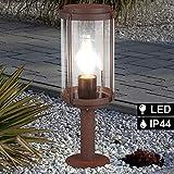 Außen Steh Leuchte ALU Stand Sockel Garten FILAMENT Lampe rost im Set inkl. LED Leuchtmittel