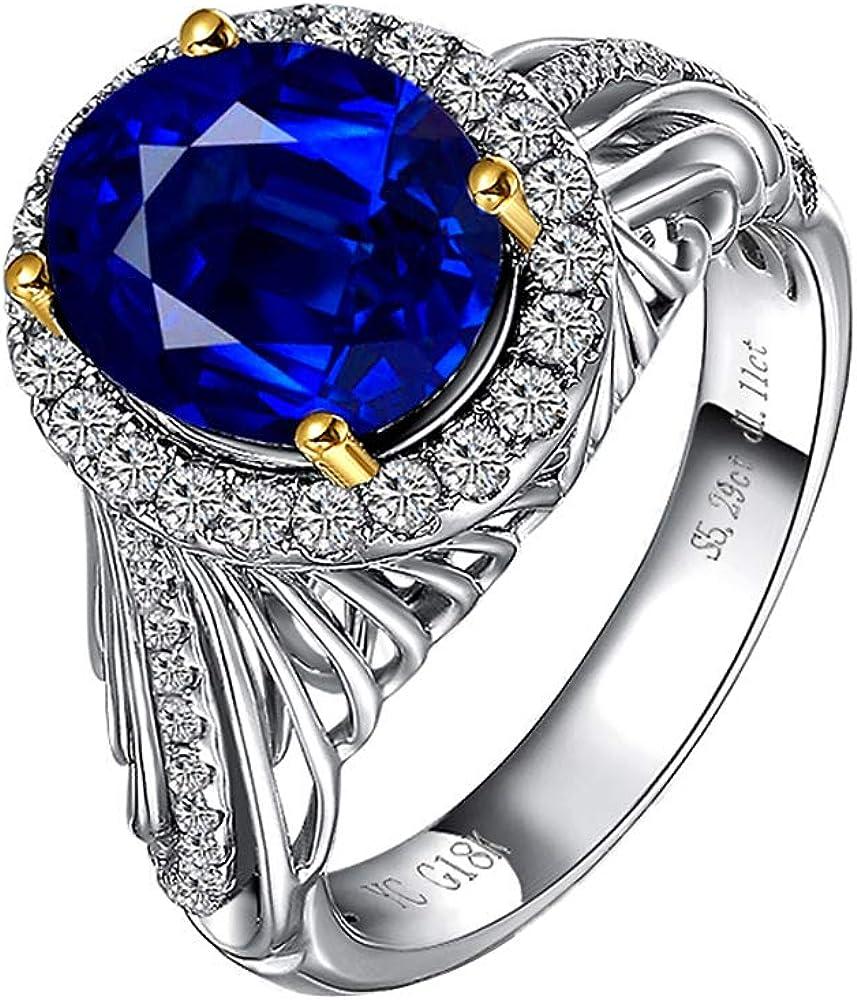 Ycgems anello eternity da donna in oro bianco 18 kt con zaffiro blu e diamanti 785-020-613