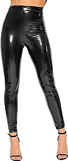 Women's Wet Look Full Length PVC Stretch Elasticated Jeggings Leggings - Black - US 2 (UK 6)