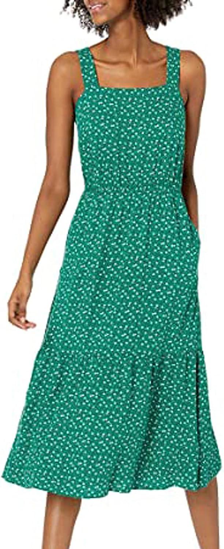KEoans Summer Dress for Women Casual Loose Short Sleeve Beach Dress Suspender Dress Long Beach Party Dress