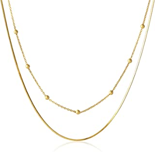 Aienid Women Necklace Sterling Silver 925 Layered Choker Necklace Gold Chain Adjustable