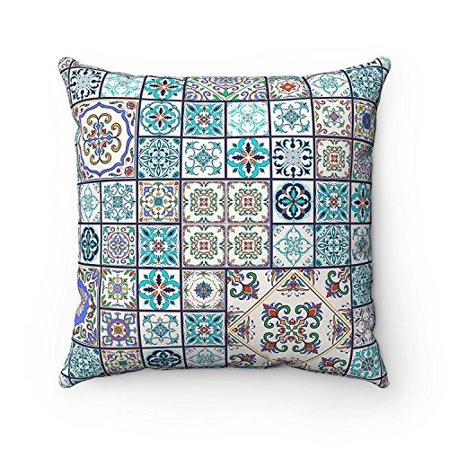 Funda de cojín de 43 x 43 cm, diseño geométrico de azulejos marroquíes, ideal para sofá, cama, regalo de español, color turquesa