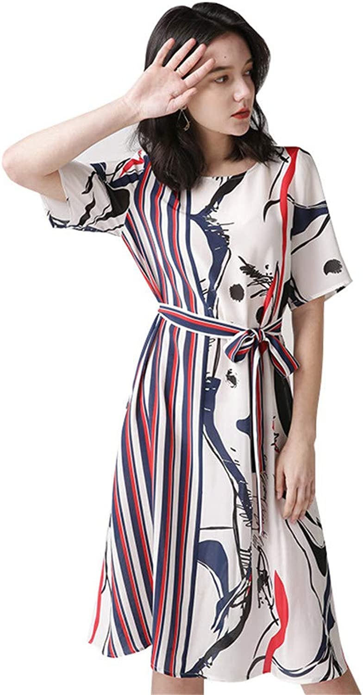Silk Dress,Women's Round Neck Short Sleeve Summer Striped Printing Casual Midi Blouse Dress