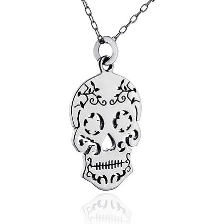 Mexican skull long necklace floral pattern dia de los muertos sugar skull jewelry