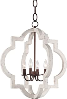 Vintage Wooden Iron Chandelier Pendant Lamp 4-Light Metal and Wood Orb Chandelier Hanging Ceiling Mount Chandelier Lamp Home Decor Light, Distressed White