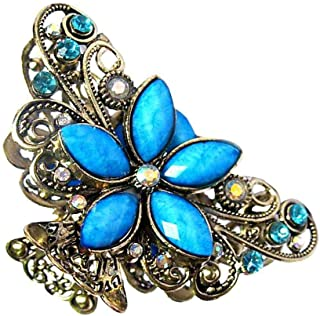 MOPOLIS Antique Gold Rhinestone Flower Butterfly Clamp Hair Clip Grip Claw Vintage | Color - Blue