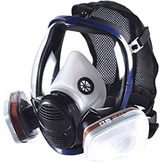 Full Face Respirator Organic Vapor Safety Mask CE Certified N95 Double Activated Carbon Air Filter For Construction, Cleaning, Paint, Formaldehyde, polish (Safety Respirator + 1 Pair LDY3 Cartridge)