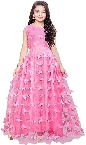 Kids Butterfly Redaymade Festive Gown Dress For Girls