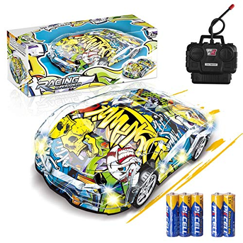 Remote Control Car, Graffiti RC Cars with Lights Included Battery, Xmas Gifts for Kids LED Light RC Car 1/18 Electric Remote Toy Racing Hobby Toy Car Vehicle for Boys Girls Adults with Controller