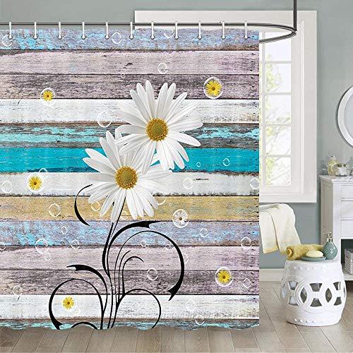 JAWO - Cortina de ducha rústica con flores en madera rústica con muelles, flores y margaritas florales, juego de cortina de ducha de baño natural, ganchos para cortina de ducha de tela, 70 pulgadas