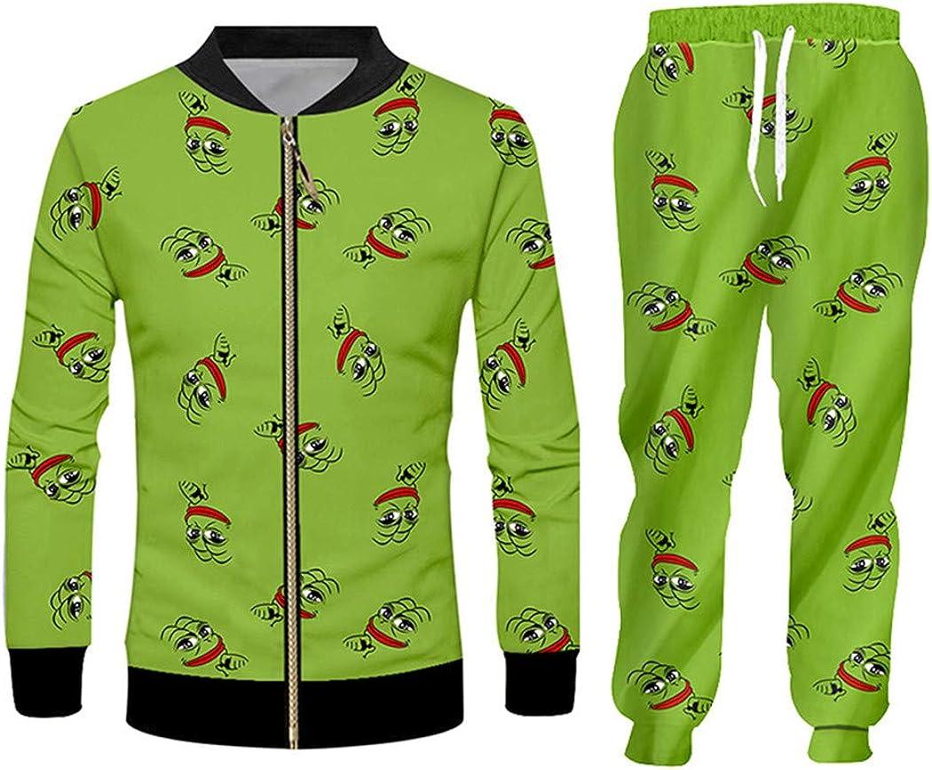 Grenouille Vert 3D Hoodies Costumes Sweat-Shirt pour Hommes Joggers Ensemble imprimé Animal drôle Automne Hiver Pantalon Shtt00008