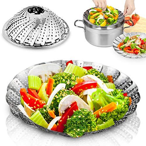 Flyfun Gemüsedämpfer mit Dünsteinsatz aus Edelstahl, Dampfgar-Einsatz Faltbar Dämpfkorb für Gemüse, Kochtöpfe und verschiedenes Kochen(14-23cm)