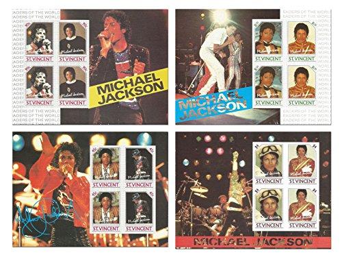 De complete Michael Jackson live op het podium ongeperforeerde stempel set voor het verzamelen met 4 muntvellen van de koning van Pop - St. Vincent