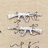 10pcs Charms Machine Gun Assault Rifle ak-47 44x15mm Antique Making Vintage Tibetan Silver Zinc Alloy Pendant