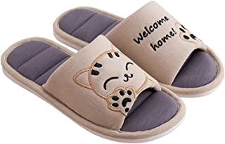 Cliont Women's Cute Cat Sweet Love Soft Indoor Slippers Open Toe Cotton Slip on Home Shoes House Couple Slippers