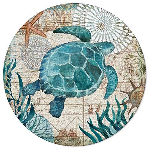 Vandarllin Round Area Rugs 3 ft Sea Turtle Ocean Animal Nautical Themed Carpets Indoors/Living Dining Room/Bedroom/Children Playroom/Kitchen/Bathroom Floor Mats Non Slip Rubber Backing