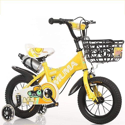 BAICHEN Kinderfürr r 12 14 16 18 Zoll,Kinderfürrad mit Trainingsrad Geschenk für 2-9 Jahre alte Jungen und mädchen,Gelb,18inches