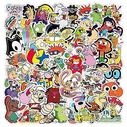 WANCHANG 50PCS Classic 90s Cartoon Graffiti Impermeabile Skateboard Valigia da Viaggio Adesivi per...