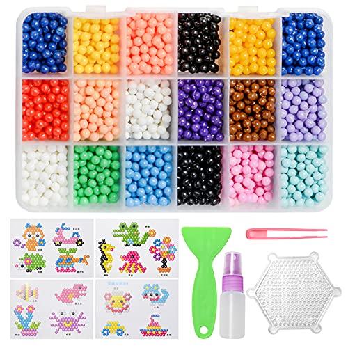 ZITFRI 3500 Pcs Recharge Perle Pear Beads DIY 15 Couleurs Perles d'Eau avec Accessoires pour Garçons Filles Enfants