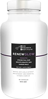 Renewglow - Thicker Fuller Hair - 5000 mcg Biotin Supplement - Fights Against Biotin Deficiency - Healthy Skin and Nails - Anti Aging Formula - Skin Research Institute