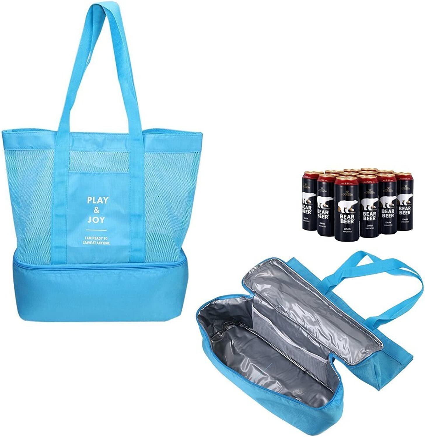 Large Tote Bag, willway Lightweight 2 in 1 Mesh Beach Bag with Cooler