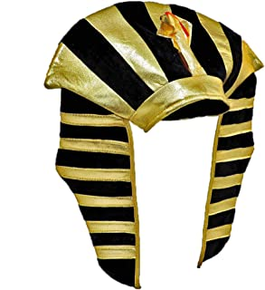 Gold Lamé Egyptian Pharaoh King Tut Costume Headdress