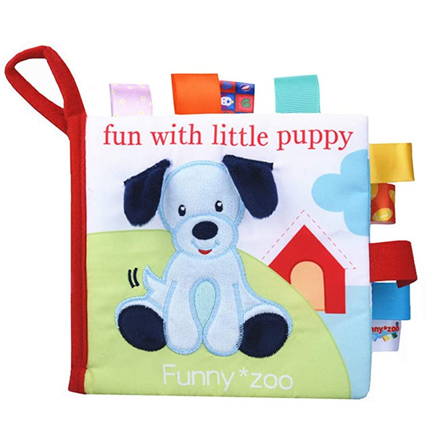 MeterMall Anti Tear 3D Animal Cognitive Book with Sound Paper Educational Rattles Toy Pupp Ring Paper + Rattle + BB