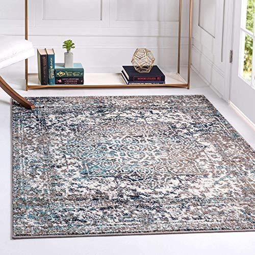 Unique Loom Richmond Medaillon Übergefärbter orientalischer Teppich, 2,1 m x 2,1 m, Grau
