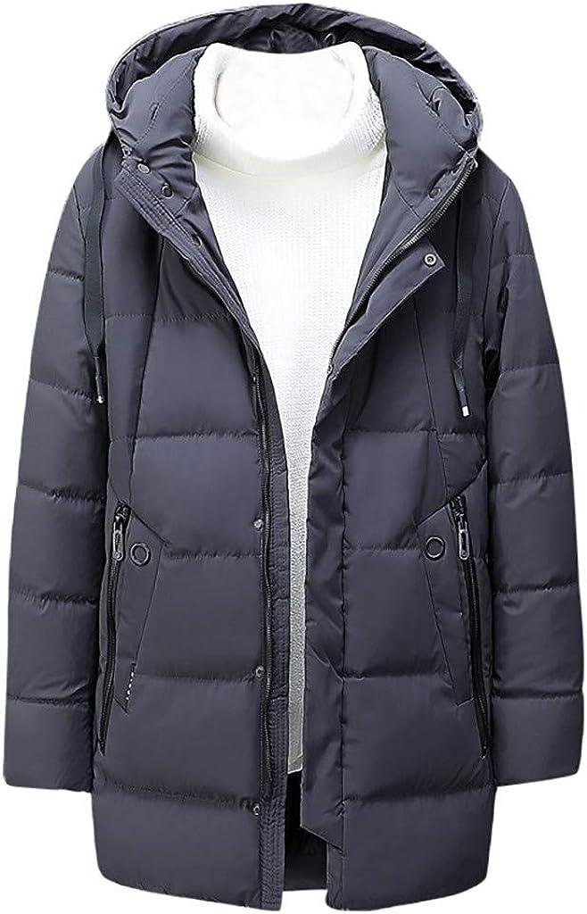 Men's Long Winter Coat with Fur Hood Zipper Hoodies Jacket Outwear Windproof