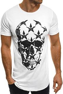 cdba933d77c6d POachers T Shirt Homme Manches Courte Col Rond Ete Tee Shirt Tete de Mort  Casual Lâche