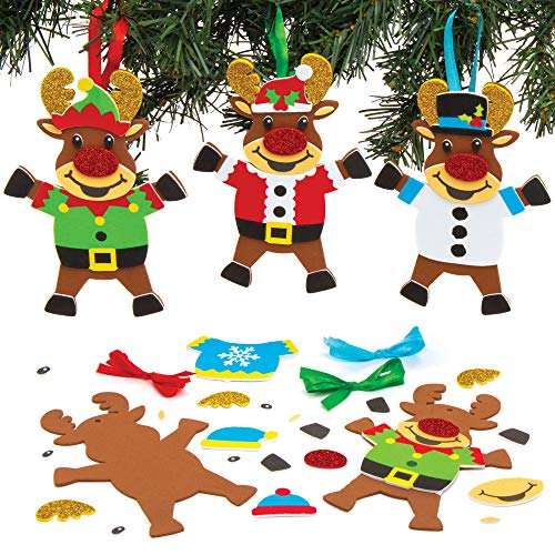 Baker Ross Kits de décorations Renne à Pull de Noël (Paquet de 6) - Loisirs créatifs de Noël pour Enfants