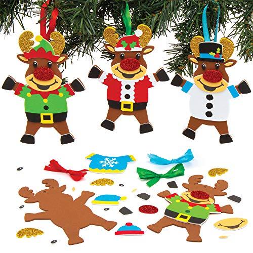 Baker Ross AT183 Weihnachtskugeln Mix & Match Rentier Bastelset (6 Stück) Christbaumschmuck Basteln zu Weihnachten für Kinder, Sortiert