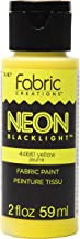 Fabric Creations 44661 Neon Black Light Fabric Paint in Assorted Colors, 2 oz, Yellow