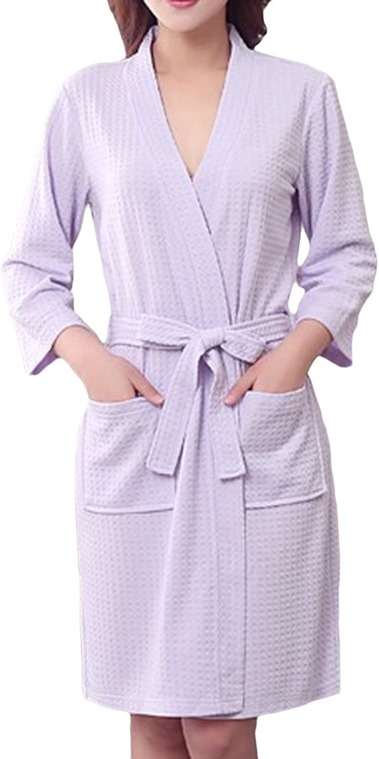 Asherbaby Robes Women,Fleece Robe Lightweight Knee Length Short Kimono Spa Robe