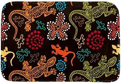 EGGDIOQ Doormats Ethnic Boho Style Seamless Pattern Custom Print Bathroom Mat Waterproof Fabric Kitchen Entrance Rug, 23.6 x 15.7in