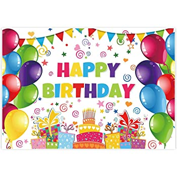 Wrinkle Resistance Studio Video Props EADS125 HD 5x7ft Happy Birthday Backdrop Balloons Cake Photography Background Cotton Backdrop