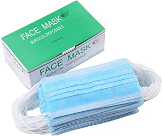 CHRISLZ Disposable Mask Blue Nonwoven Mask 3 Plys Dust Filter Mask Medical Surgical Face Mask(Pack of 50)