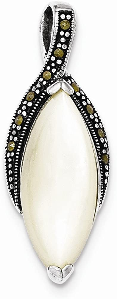 Solid 925 Sterling Silver Mother of and Washington Mall Chain Sl Marcasite Pearl sale