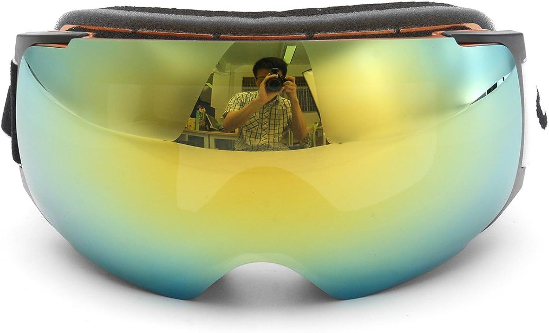 HITSAN gold Frame Snowboard Ski Goggles Magnet UV Predection Anti Fog Dual Lens One Piece