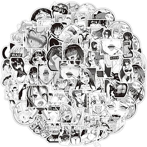 DUOYOU Negro y blanco dos dimensiones Sexy Sexy Anime Girl Graffiti etiqueta de la mano cuenta decoración al por mayor 50pcs