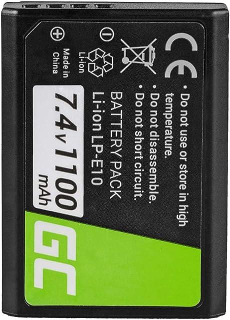 Green Cell® LP-E10 LPE10 Batería para Canon EOS 1100D 1200D 1300D Digital Camera EOS Kiss X50 Rebel T3 Kiss X50 X70 Rebel T3 T5 T6 Cámara Full Decoded (Li-Ion Celdas 1100mAh 7.4V)