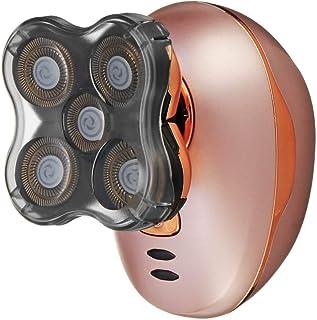 ماكينة حلاقة كهربائية - قابلة لإعادة الشحن عبر USB للنساء والرجال وإزالة شعر الجسم ماكينة حلاقة كهربائية برأس 5D ورأس حلاق...