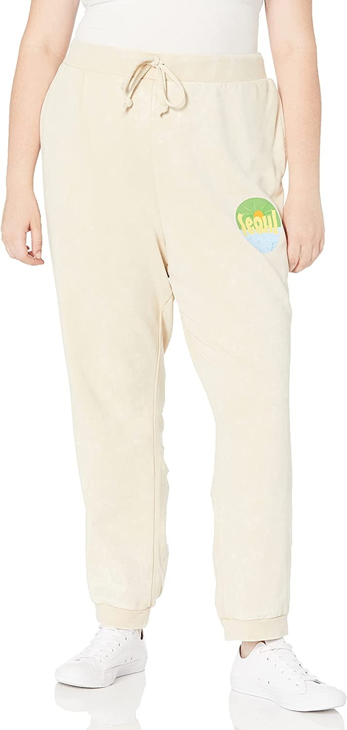 KENDALL + KYLIE Women's Plus Size Back Ruching Jogger