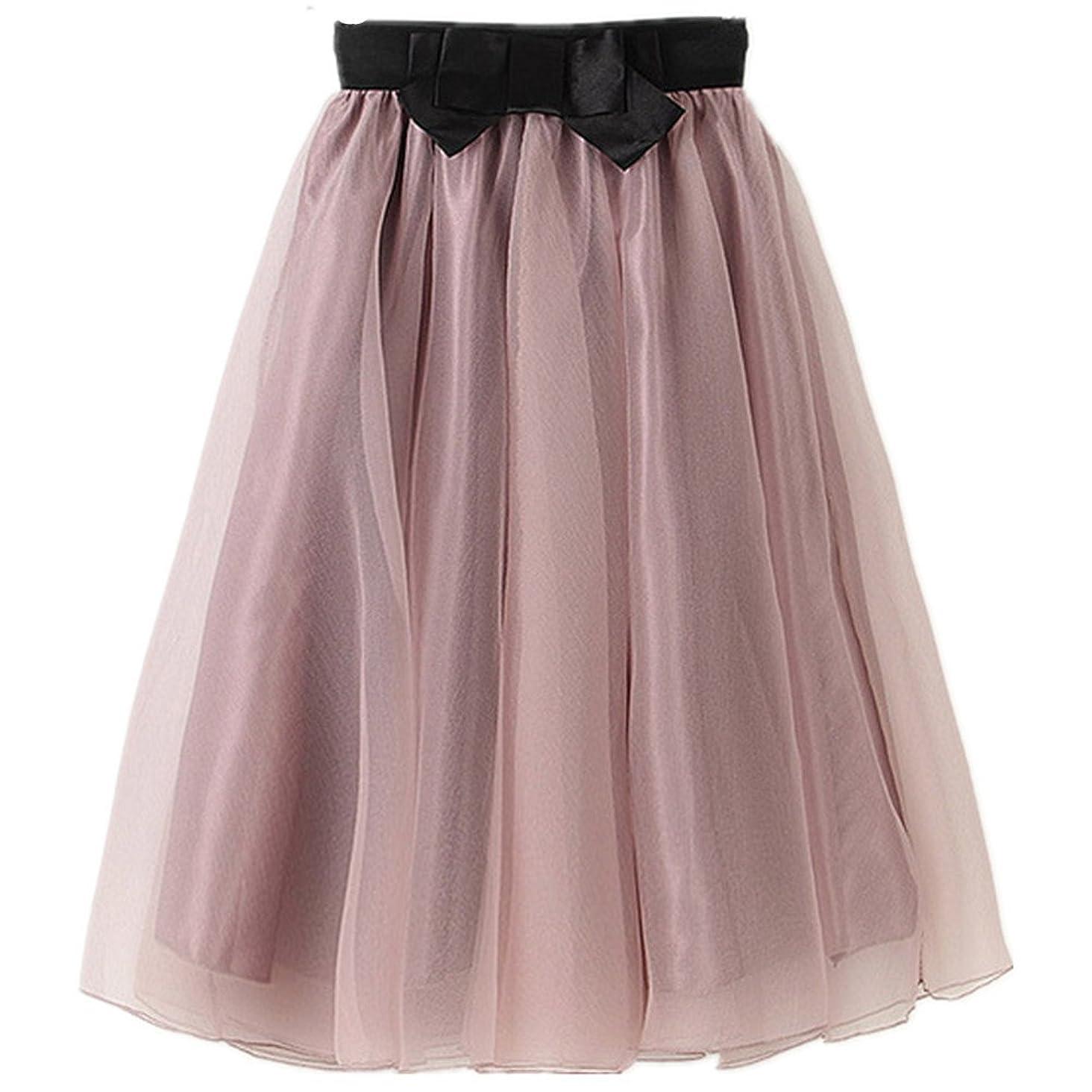 YSJERA Lady's Organza Princess Skirt Bowknot A Line Pleated Midi/Knee Length Tutu Party Skirts