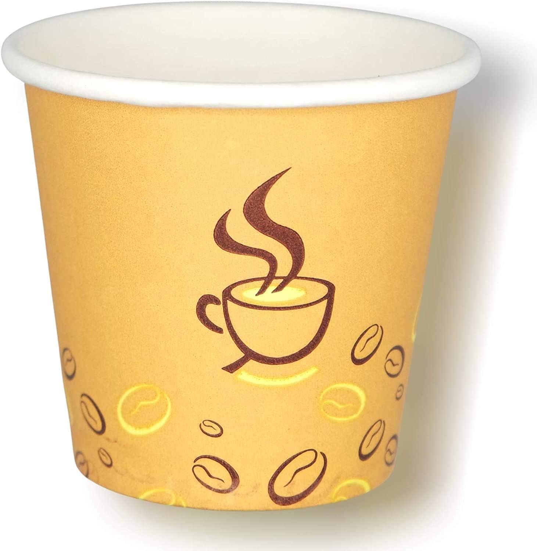 Cocobanana Vasos de Papel 75ml - Contenedores de Bebidas Desechables y Reciclables - Cartón Alimentario Sin Gusto ni Olor - Pequeño para Café Caliente y Frío, Té, Espresso - [Grano de café], [50]